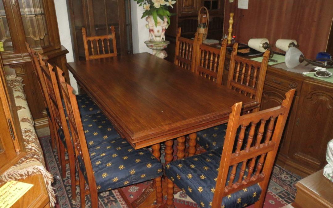 Stůl rozkl.+ 8 židlí